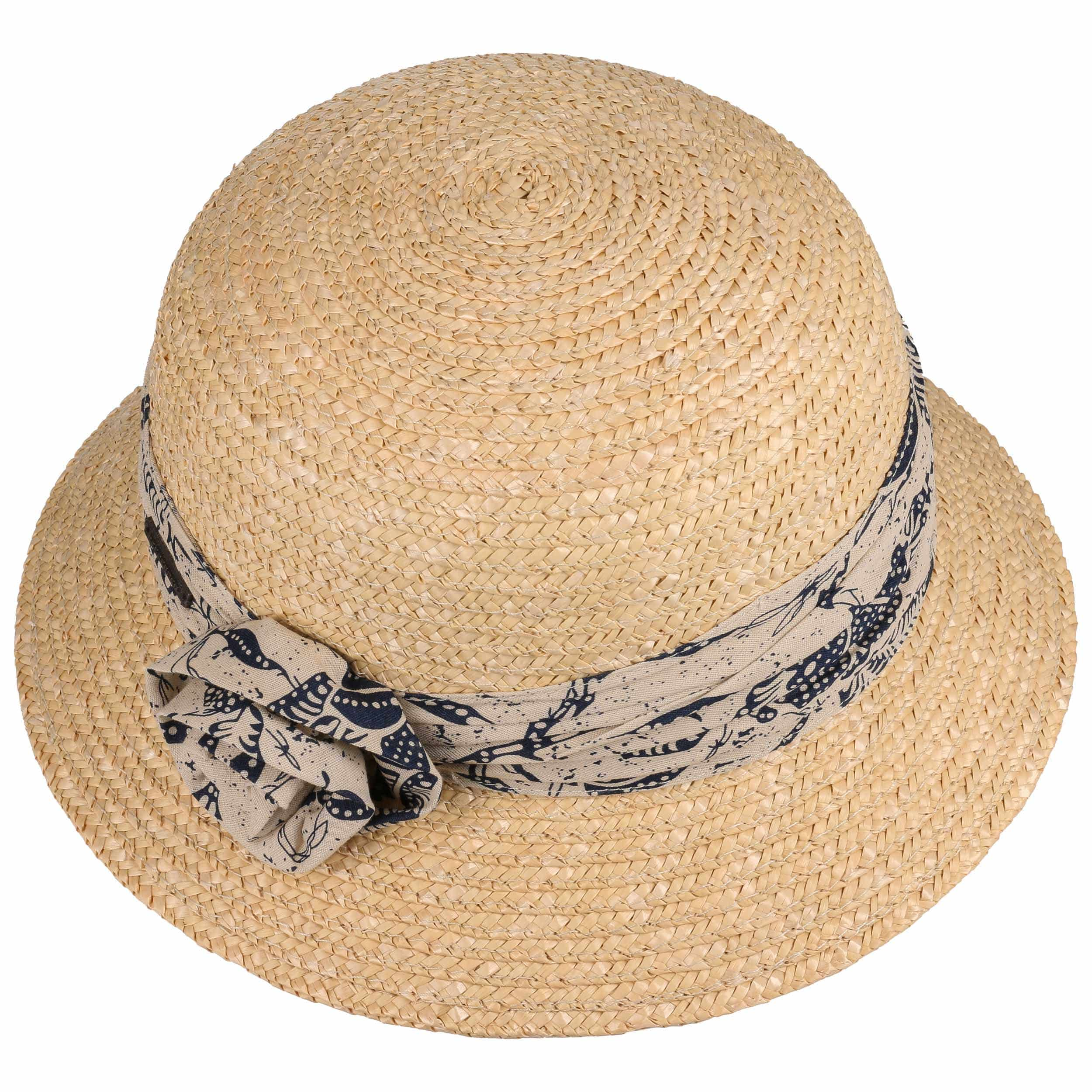 ... Sombrero Cloché Flower Trim by Seeberger - natural-azul oscuro 1 ... b34d159f501