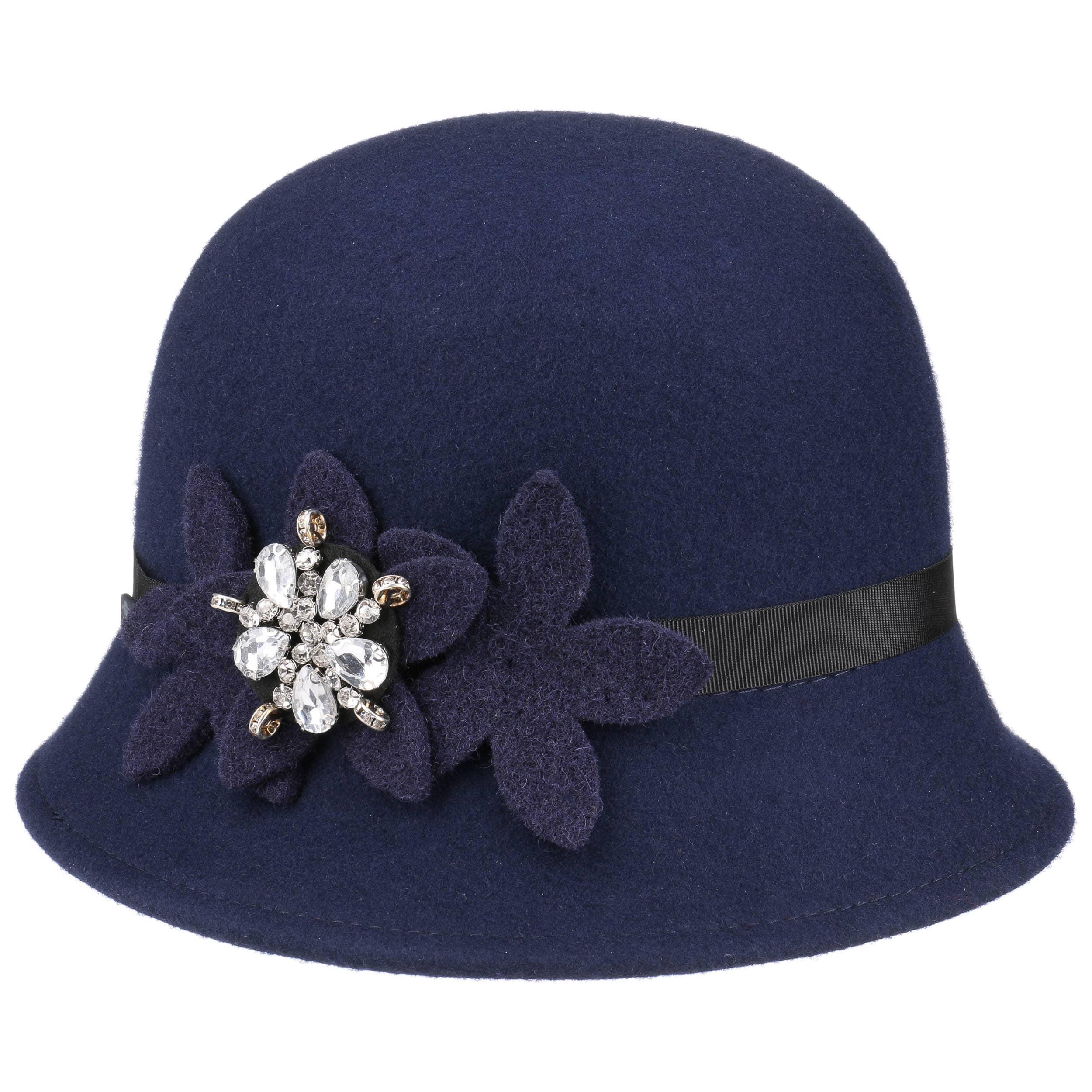 ... Sombrero Cloché con Flores y Estrás by Lipodo - azul 4 ... 6fff9a53d35
