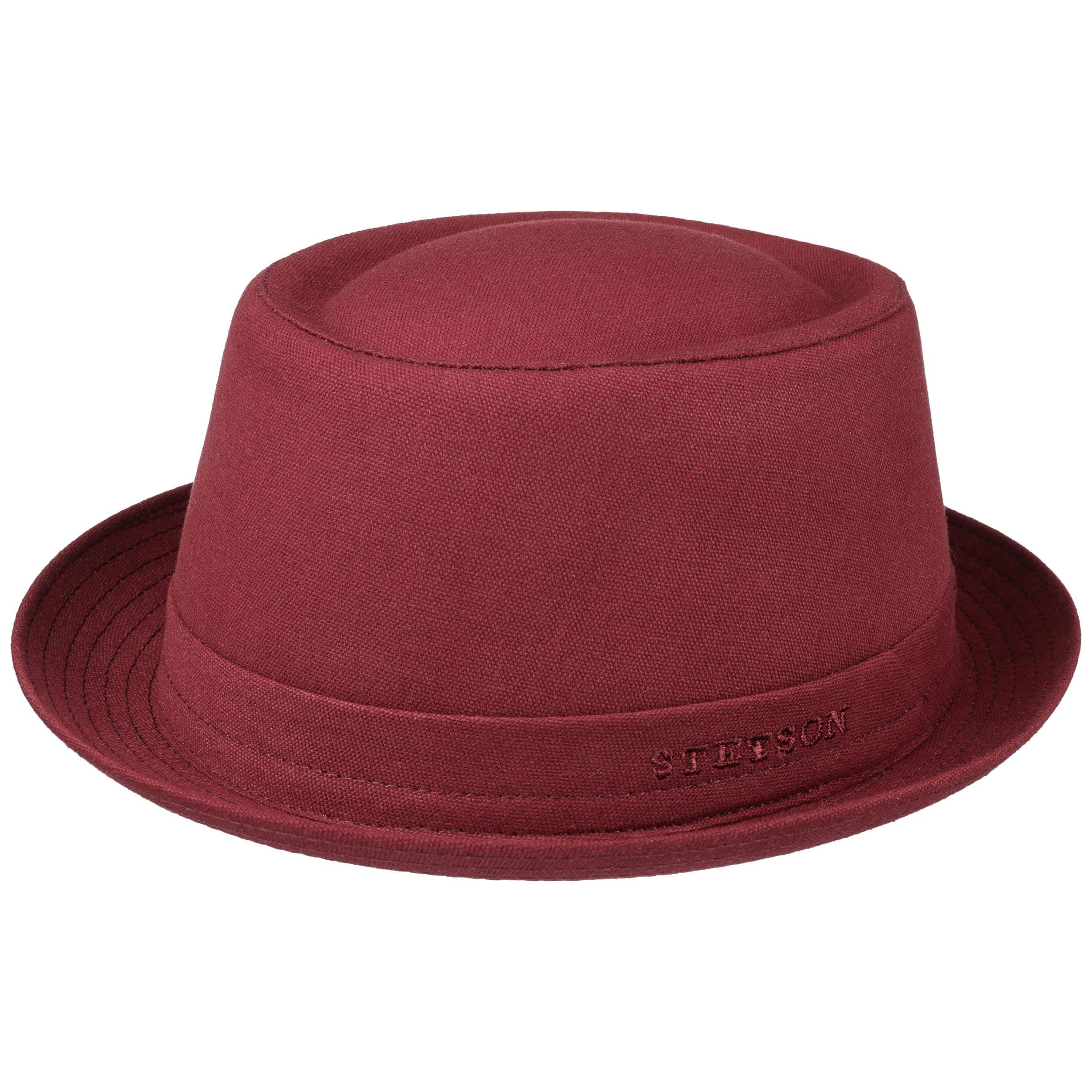 376e28be23315 ... Sombrero Pork Pie Athens Cotton by Stetson - rojo oscuro 4 ...