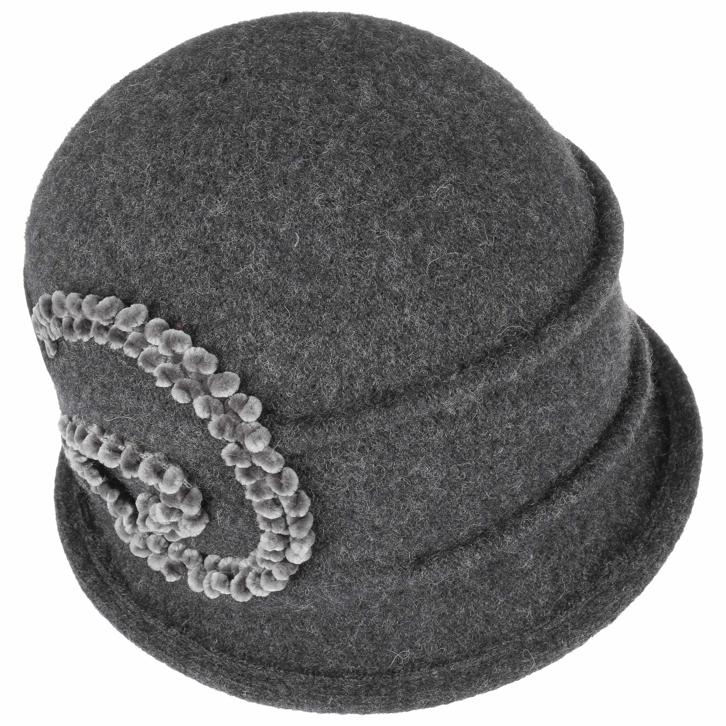 Sombrero de Lana Hervida Chenille by Seeberger - antracita 1 ... 72d13e93819